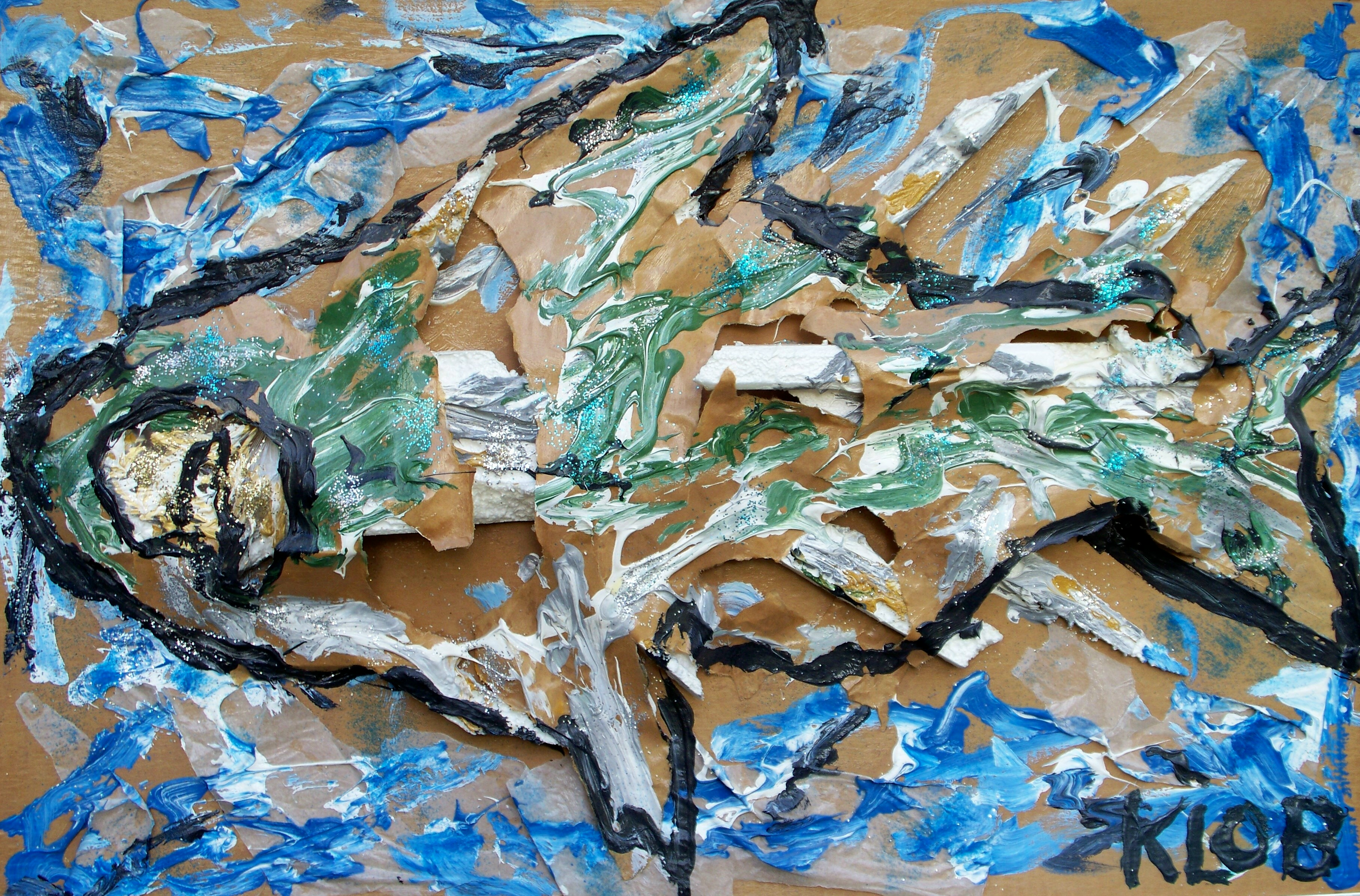 2004; acrylic, brown paper bag, styrofoam, wax paper; 24 in X 36 in