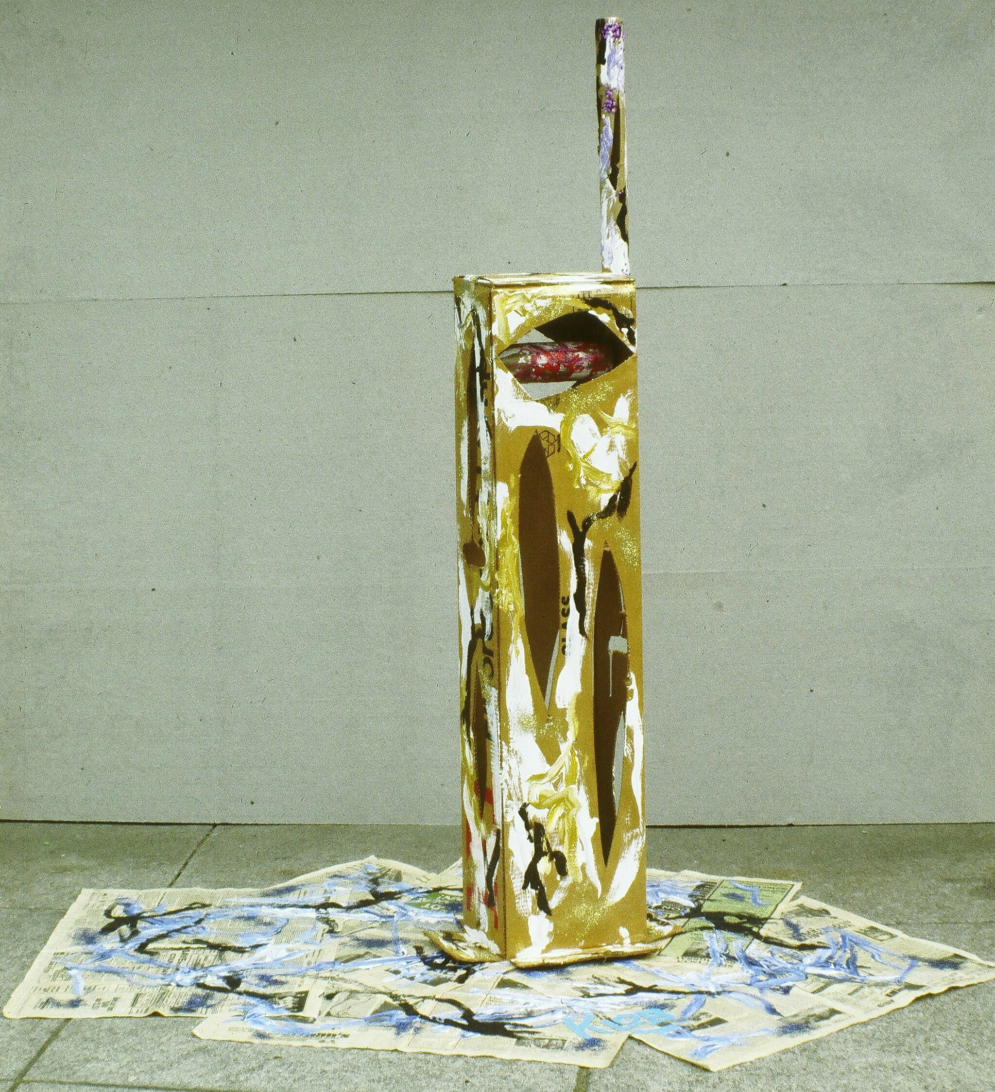 1979; acrylic, newspaper, cardboard box, cardboard tube; 5 ft 6 in X 6 ft 2 in