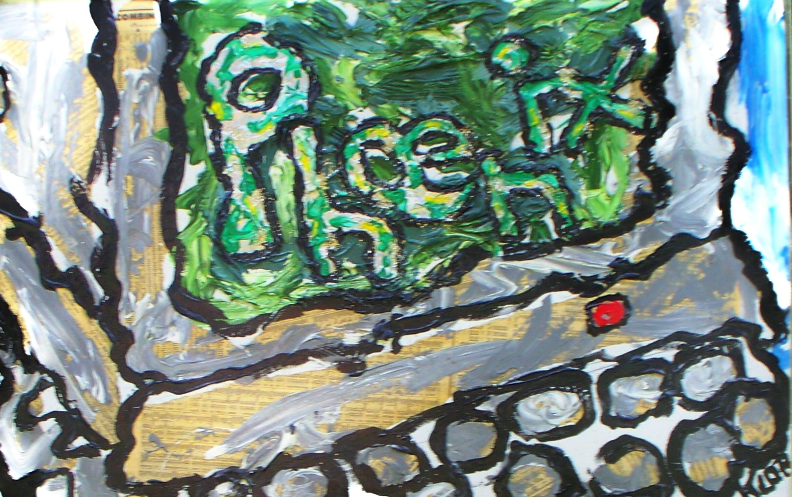 1988; acrylic, newspaper, aluminum foil; 16 in X 30 in