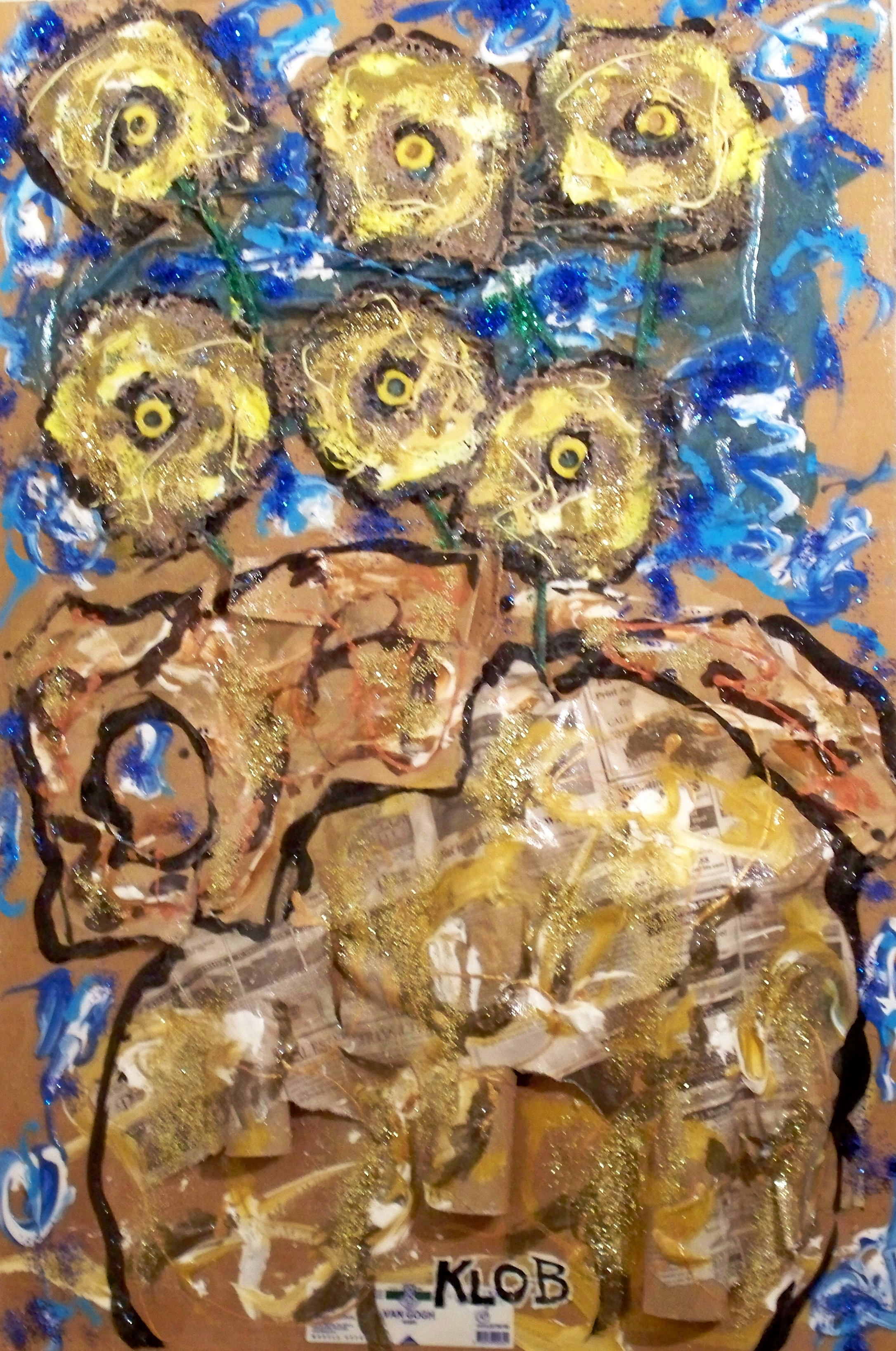 2012; acrylic, burlap, brown paper bag, newpaper, cellophane, glitter; 24 in X 36 in